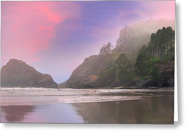 Foggy Beach Greeting Cards - Heceta Head Lighthouse State Park Panorama Greeting Card by Jpldesigns
