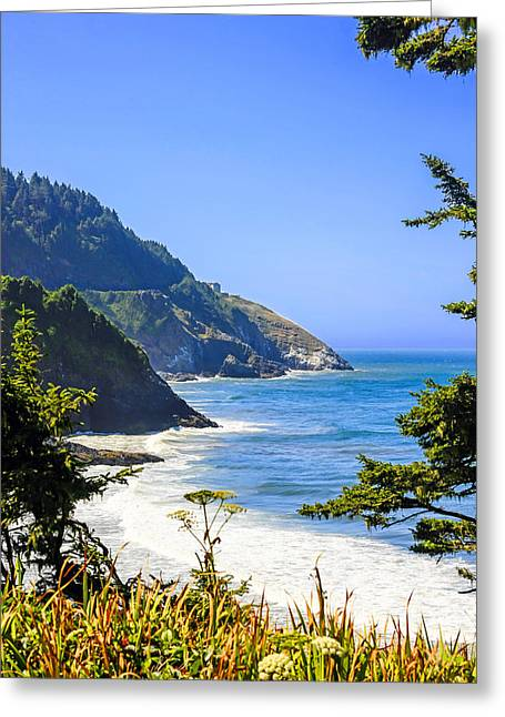 Outlook Greeting Cards - Heceta Headland Oregon Greeting Card by Chris Smith