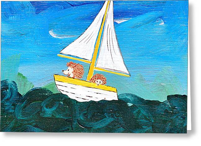 Hedgehogs Go A Sailing-oh Greeting Card by Kerry Hartjen