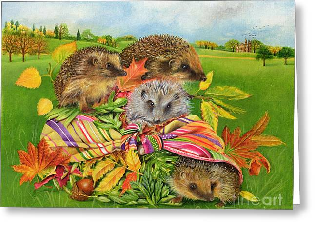 Autumn Landscape Paintings Greeting Cards - Hedgehogs Inside Scarf Greeting Card by EB Watts