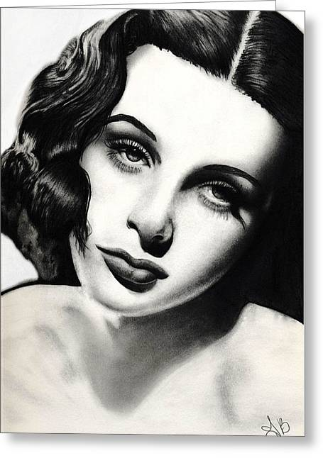 Hedy Greeting Cards - Hedy Lamarr Greeting Card by Trina  Boatman