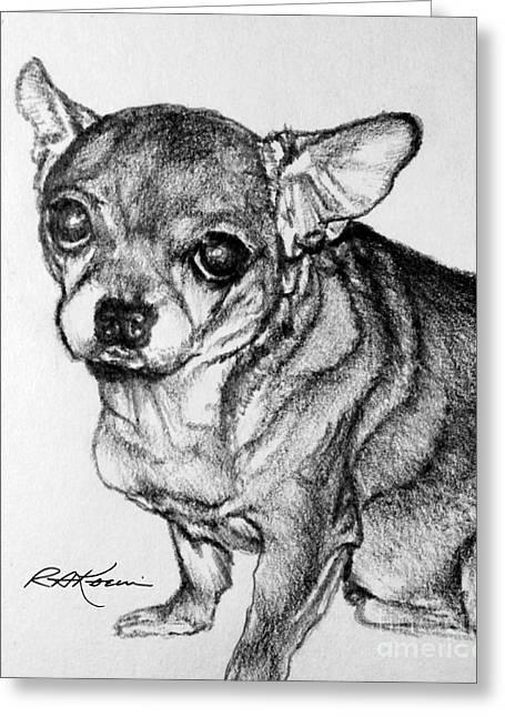 Kaelin Drawings Greeting Cards - Hefty Chihuahua Greeting Card by Roy Kaelin