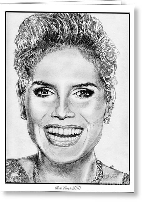 Catwalk Drawings Greeting Cards - Heidi Klum in 2010 Greeting Card by J McCombie