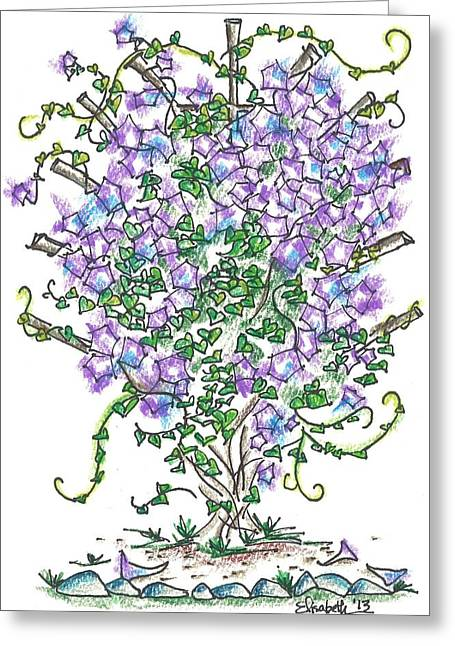 Trellis Drawings Greeting Cards - Heidis Morning Glories Greeting Card by Elisabeth Achauer