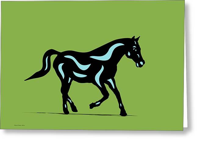 Heinrich - Pop Art Horse - Black, Island Paradise Blue, Greenery Greeting Card by Manuel Sueess