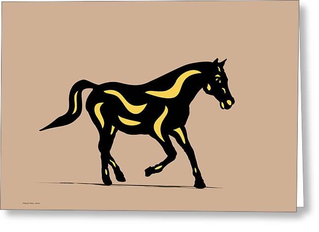 Heinrich - Pop Art Horse - Black, Primrose Yellow, Hazelnut Greeting Card by Manuel Sueess
