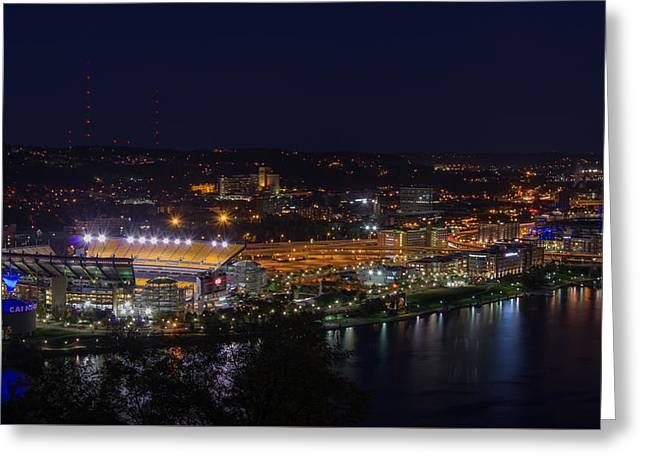 Heinz Field At Night From Mt Washington Greeting Card by Lori Coleman