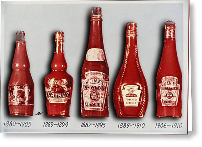 Heinz Tomato Ketchup Vintage, Evolution To 1910 Greeting Card by Tony Rubino