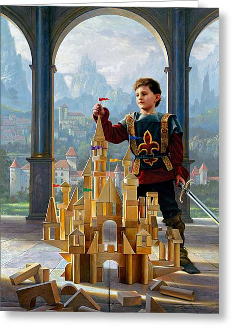 Wood Blocks Greeting Cards - Heir to the Kingdom Greeting Card by Greg Olsen