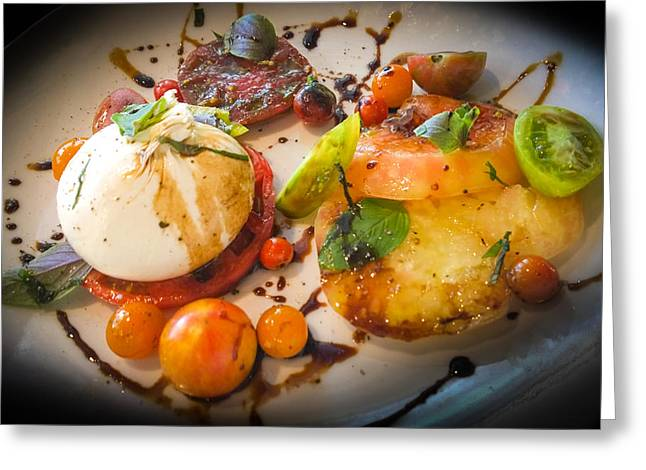 Heirloom Tomato Salad Greeting Card by Karen Wiles