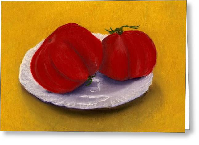 Present Greeting Cards - Heirloom Tomatoes Greeting Card by Anastasiya Malakhova