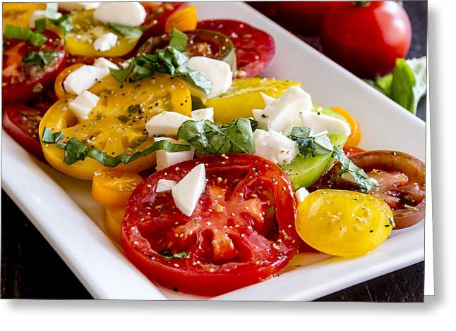 Olive Oil Greeting Cards - Heirloom Tomatoes, Basil and Cheese Greeting Card by Teri Virbickis