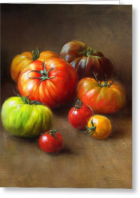 Vegetables Paintings Greeting Cards - Heirloom Tomatoes Greeting Card by Robert Papp