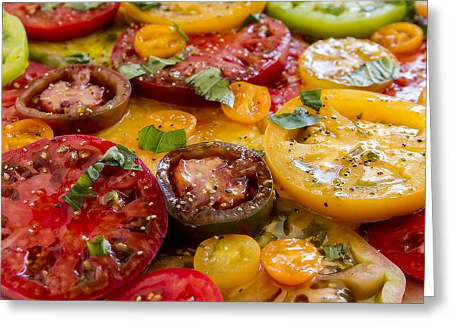 Olive Oil Greeting Cards - Heirloom Tomatoes with Basil Greeting Card by Teri Virbickis