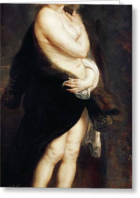 Peter Paul (1577-1640) Greeting Cards - Helena Fourment in a Fur Wrap Greeting Card by Rubens