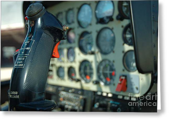 Collective Greeting Cards - Helicopter Cockpit Greeting Card by Micah May