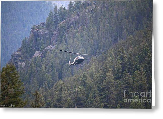Gallatin River Greeting Cards - Helicopter Construction  Greeting Card by Susan Herber