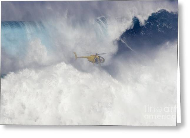 Surfing Art Greeting Cards - Helicopter Films Tow-In Surf Greeting Card by Dave Fleetham - Printscapes