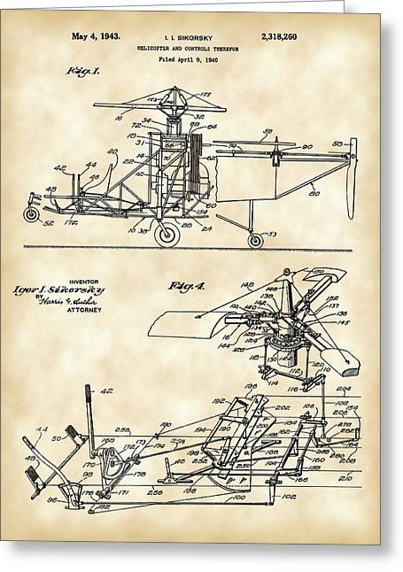 Engineering Greeting Cards - Helicopter Patent 1940 - Vintage Greeting Card by Stephen Younts