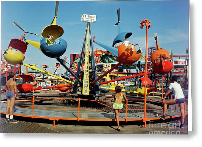 Mixed Age Range Greeting Cards - Helicopter Ride on the Sportland Pier Wildwood  NJ Greeting Card by Retro Views