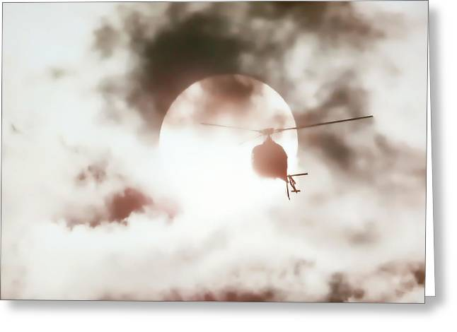 Military Airplanes Greeting Cards - Helicopter Silhouette Greeting Card by Athena Mckinzie
