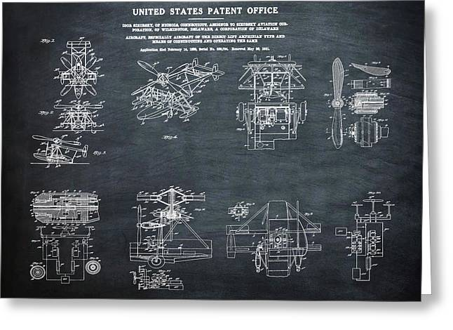 Helicoptor Patent 1932 Chalk Greeting Card by Bill Cannon