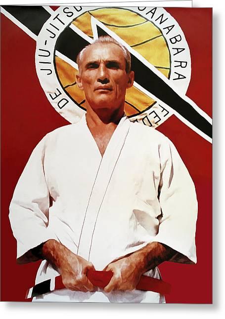 Dojo Greeting Cards - Helio Gracie - Famed Brazilian Jiu-jitsu Grandmaster Greeting Card by Daniel Hagerman