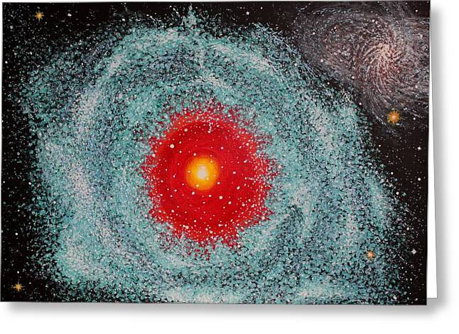 Outer Space Paintings Greeting Cards - Helix Nebula Greeting Card by Georgeta  Blanaru