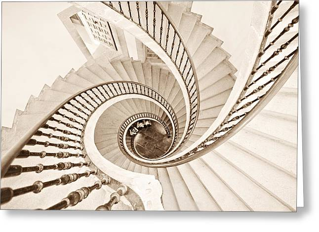 Spiral Staircase Photographs Greeting Cards - Helix Vertigo Greeting Card by Ines Montenegro