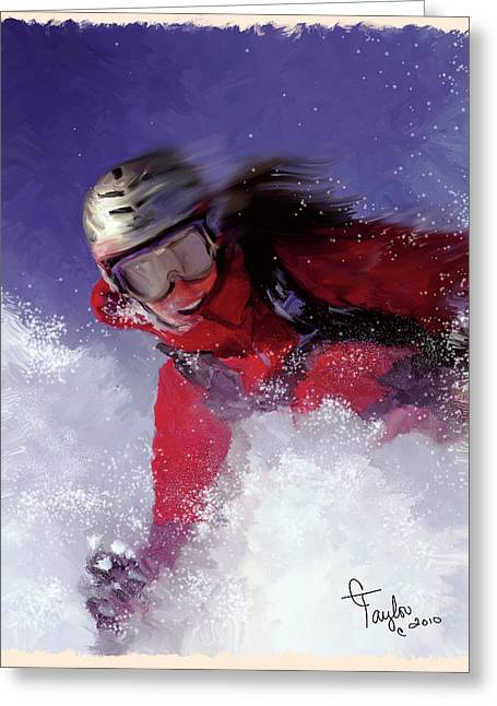 Ski Mixed Media Greeting Cards - Hell Bent for Powder Greeting Card by Colleen Taylor