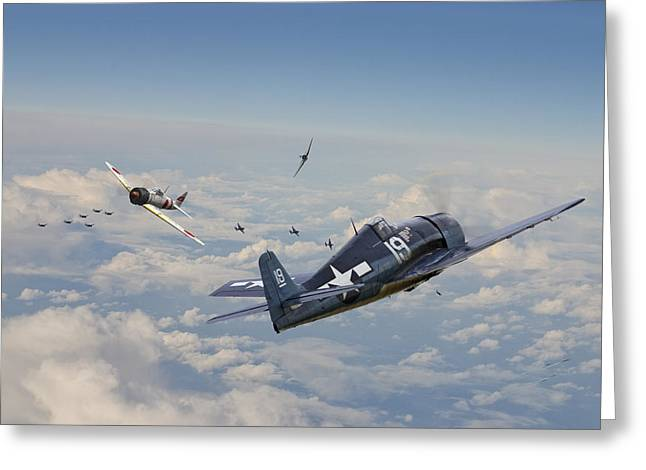 Fighter Aircraft Greeting Cards - Hellcat F6F - Duel in the Sun Greeting Card by Pat Speirs