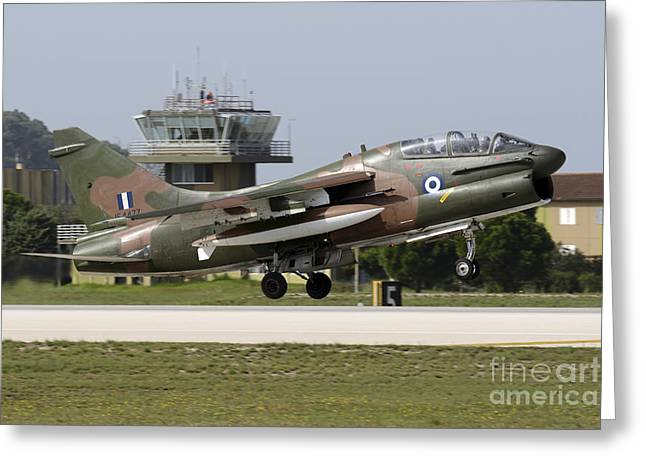 Traffic Control Greeting Cards - Hellenic Air Force Ta-7c Corsair Taking Greeting Card by Daniele Faccioli