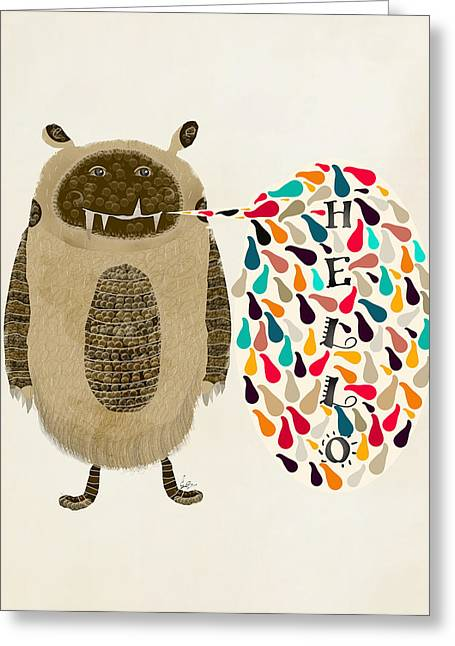 Speech Bubble Greeting Cards - Hello Critter Greeting Card by Bri Buckley