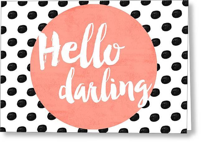 Hello Darling Coral And Dots Greeting Card by Allyson Johnson