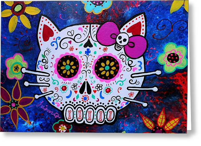 Kitty Day Of The Dead Greeting Card by Pristine Cartera Turkus