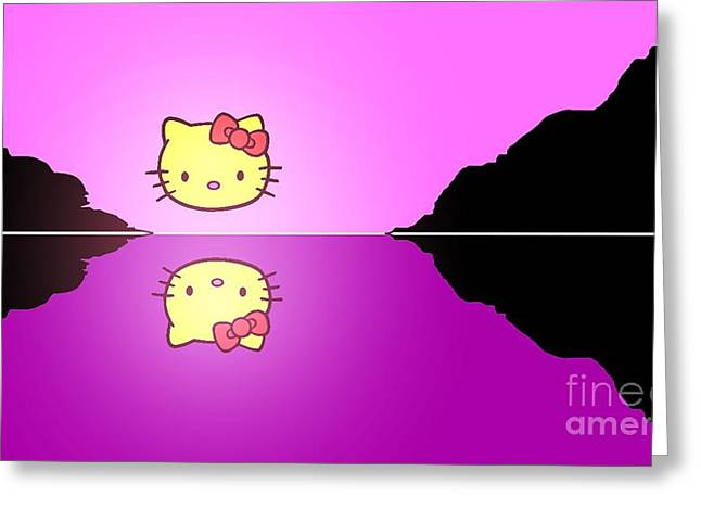 Hello Kitty Sunrise Greeting Card by George Pedro