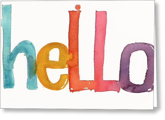 Typography Greeting Cards - Hello Lettering Greeting Card by Gillham Studios