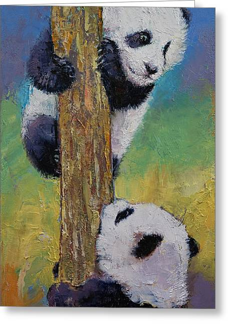 Giant Panda Greeting Cards - Hello Greeting Card by Michael Creese