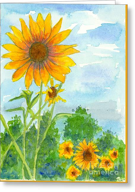 Yellow Sunflower Greeting Cards - Hello Sunshine Greeting Card by Cathie Richardson
