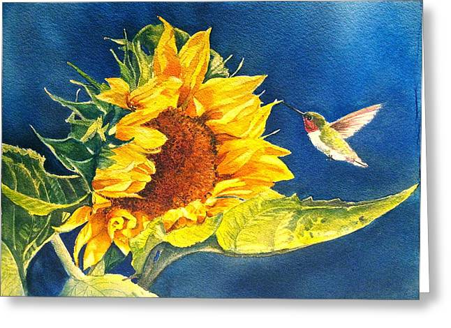 Birds And Flowers Greeting Cards - Hello There Greeting Card by Patricia Pushaw