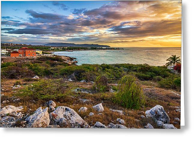 Ocean Landscape Greeting Cards - Hellshire Sunrise Greeting Card by Lechmoore Simms