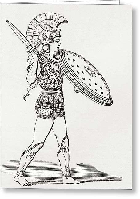 Helmeted Greek Warrior Wearing Greaves Greeting Card by Vintage Design Pics