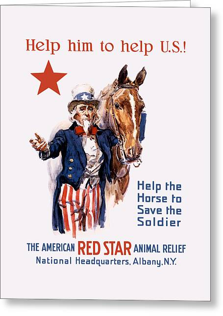 Help The Horse To Save The Soldier Greeting Card by War Is Hell Store