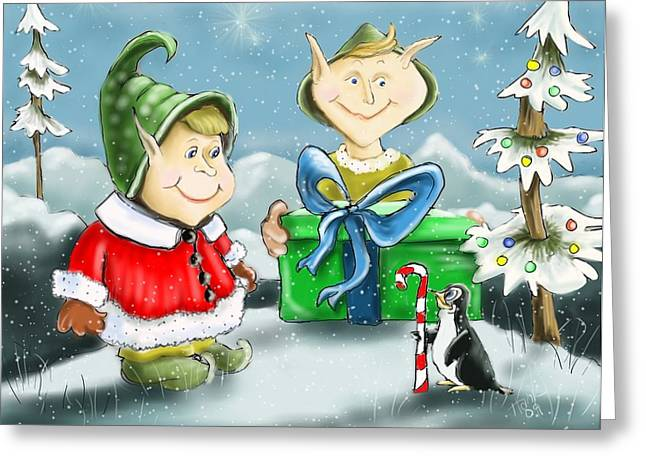 Christmas Art Greeting Cards - Helping Hands Greeting Card by Hank Nunes