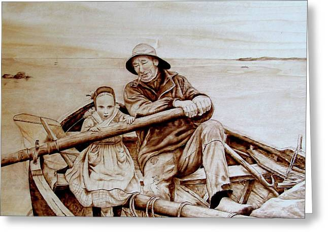 Row Boat Pyrography Greeting Cards - Helping Hands Greeting Card by Jo Schwartz