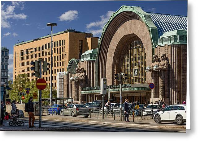 Europe Mixed Media Greeting Cards - Helsinki Central Station Greeting Card by Capt Gerry Hare