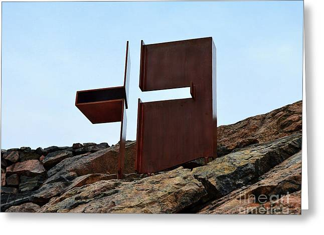 The Church Greeting Cards - Helsinki Rock Church Cross Greeting Card by Catherine Sherman