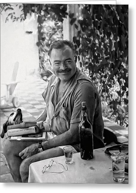 Beach Greeting Cards - HEMINGWAY and HIS DOG NEGRITA PAINTERLY Greeting Card by Daniel Hagerman