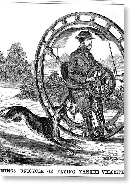 Whippet Greeting Cards - Hemmings Unicycle, 1869 Greeting Card by Granger