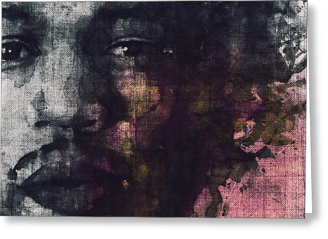 Rock N Roll Greeting Cards - Hendrix Retro Greeting Card by Paul Lovering
